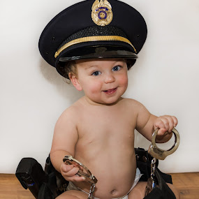 Cop Kid by Michele Dan - Babies & Children Toddlers ( police, handcuffs, child photography, child portrait, toddler )