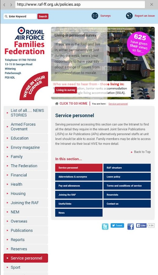 RAF Families Federation- screenshot