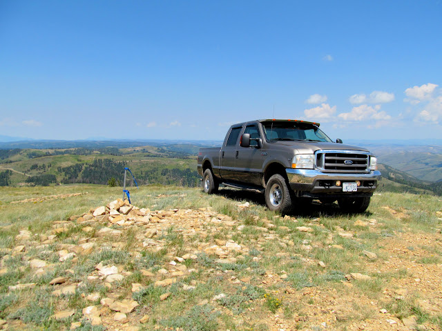 Truck parked atop Monument Peak, elevation 10,452'