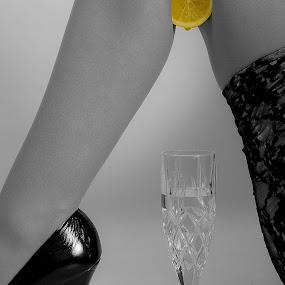 Sour Lemon, Sexy Legs by Bryn Graves - People Body Parts ( stockings, fruit, art, stilletto, legs, mono, classic, lemon )