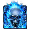 Blue Fire Skull Keyboard icon