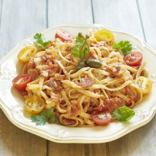 Creamy Ham And Tomato Pasta For Two