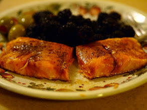 Photo: Baked salmon with black pepper and soy sauce, blackberries, and pimento olives.