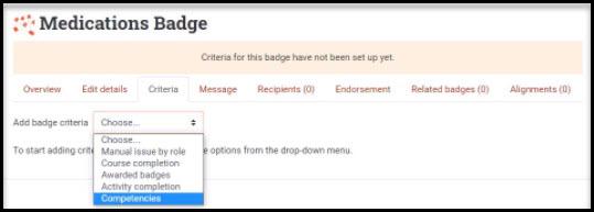 Screenshot showing badge criteria options