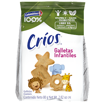 GALLETA COLOMBINA 100%   CRIOS INFANTIL PAQUETE X80G.
