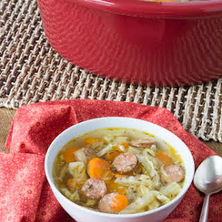 Crock Pot Andouille Sausage Cabbage Soup.