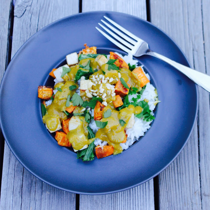 Curried Peanut Sauce Bowl with Tofu, Kale and Roasted Yams. Recipe ...