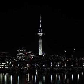 Sky Tower Skyline at Night by Karina Zawilinski - City,  Street & Park  Skylines ( sky, reflection, night, skyline, tall, lights, tower )