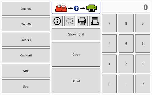 Cash register with BT printer