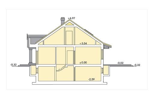 Sielanka II 35st. wersja A bez garażu z piwnicą - Przekrój