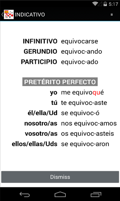 SPANISH IRREGULAR VERBS- screenshot