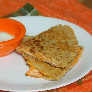 Buffalo Chicken Quesadilla with Ranch Dipping Sauce.