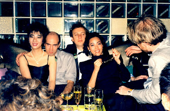 Photo: Phil Hicks attempts a champagne-inspired disco-lunge in Sally's direction. @ the afterparty for my 30th @ Congo Blue. 1986. Seth & Doris zone out nonetheless.