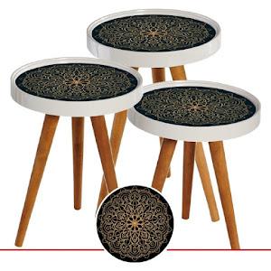 Set masute de cafea, design oriental, diametru 39 cm - RS129