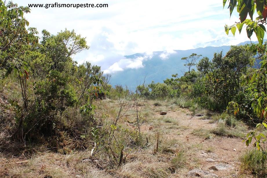 Trilha do Paiolinho - Pedra da Mina - Clareira antes do capinzal com visão ampla das serras do sul de Minas.