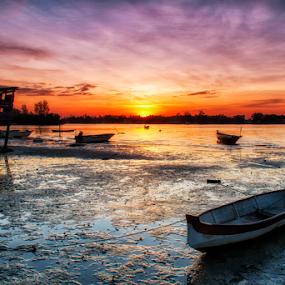 Sunset by BRYON PHILIP - Transportation Boats ( hut, sunset, sunsets, boat, sunlight, sun )