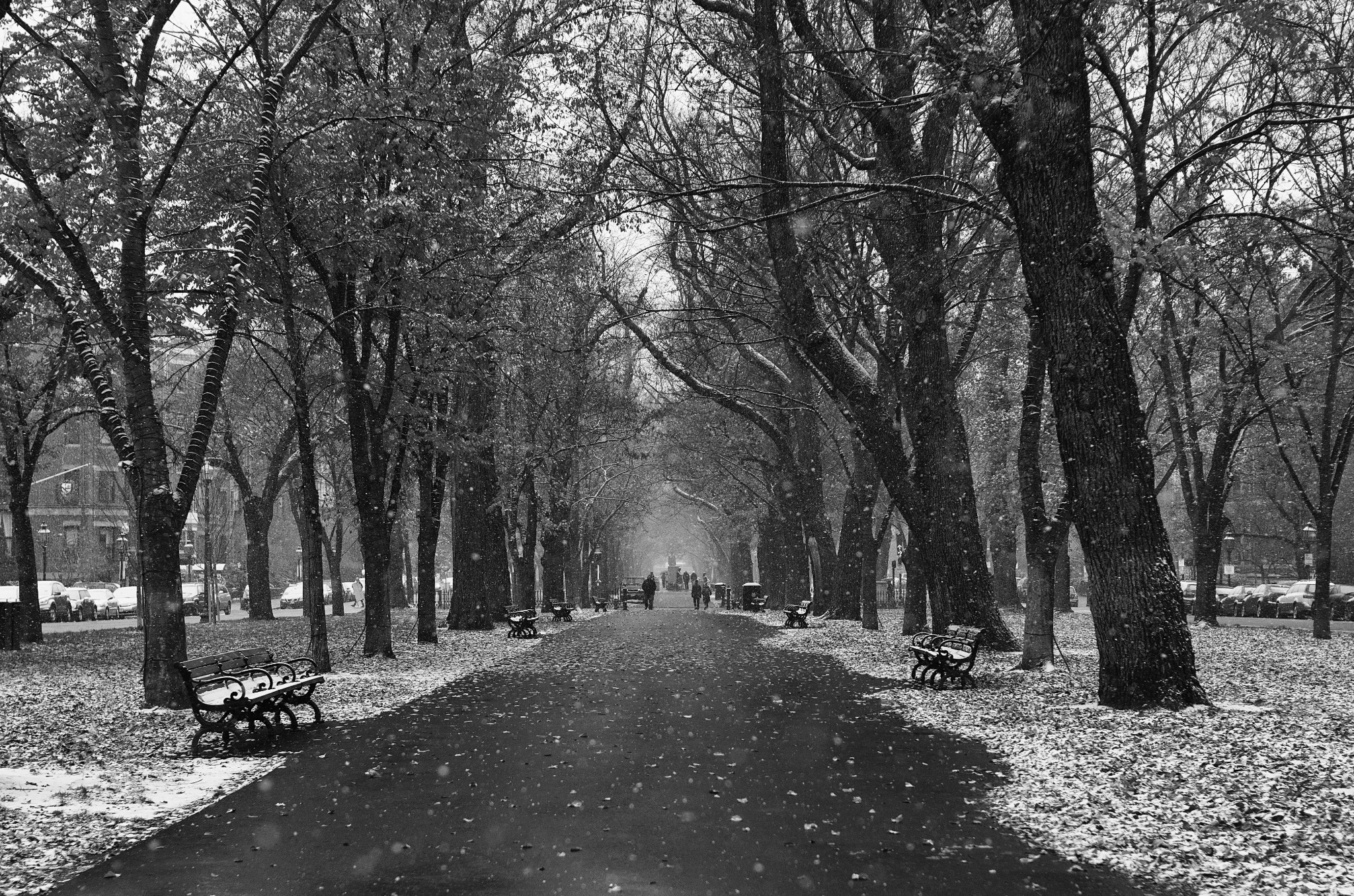 Photo: First Snow Boston, MA. 2012.  My attempt at a classic scene.  On our trip out to Boston we were treated to the first snow of the year. - I wish I had more chances to make this image again, you always learn so much the first time you shoot somewhere, and I was surprised to learn what settings looked best for this scene -- just wish I had more cracks at it.  Some info about processing, started in LR for minor lens correction, then onto Silver Efex Pro for b/w conversion, then into Photoshop to remove some elements that did not belong (a road cone on the left side), and finally into OnOne perfect effects for sharpening.  Final cropping in LR after all processing was complete.