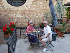 Photo: tasting the festival foods from Oca Contrada festival in our hotel courtyard.