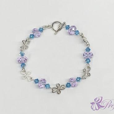 [CSS026] 四葉草水晶手鏈 (紫+藍)