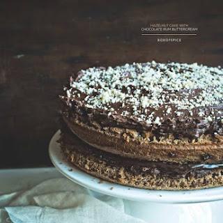 Hazelnut Cake with Chocolate Rum Buttercream