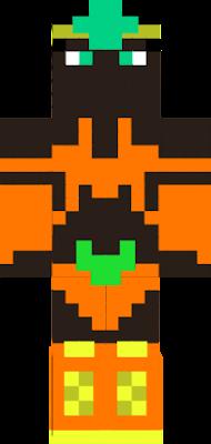 Orange bikini, orange boots, golden jade crown, jade eyes and black skin.