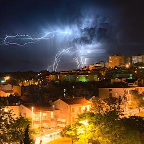 Thunderstruck by Elvis Pažin - Landscapes Starscapes ( thunder, croatia, night, cityscape, pula )