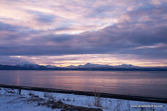 Photo: Sunrise on our first morning in Homer, looking across Kachemak Bay from the Homer Spit
