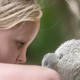 Girl and her bear by Jamie Ledwith - Babies & Children Children Candids ( bear, girl, dof, close up, eyes, teddy )