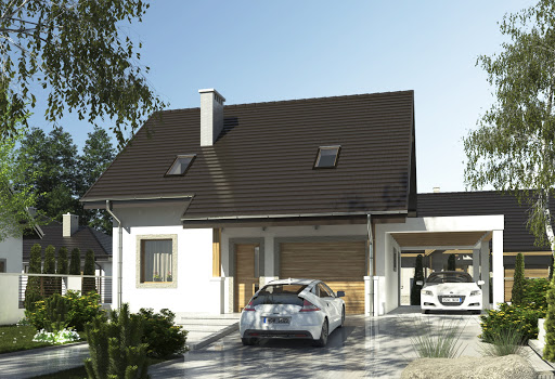 projekt Turkawka z garażem i wiatą A1