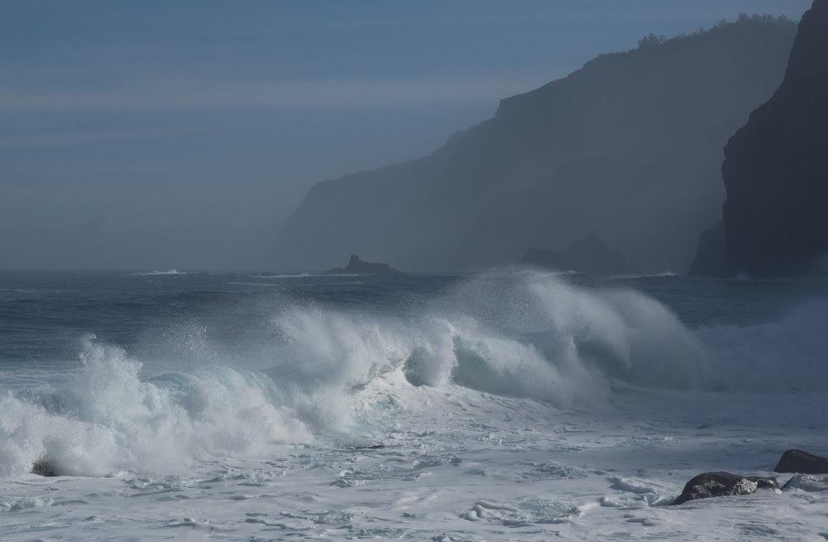 Madeira island north shore waves