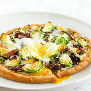 Gluten Free Caramelized Onion Brussels Sprout Pizza.