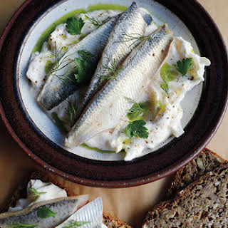 Pickled Herring with Sour Cream and Onions.