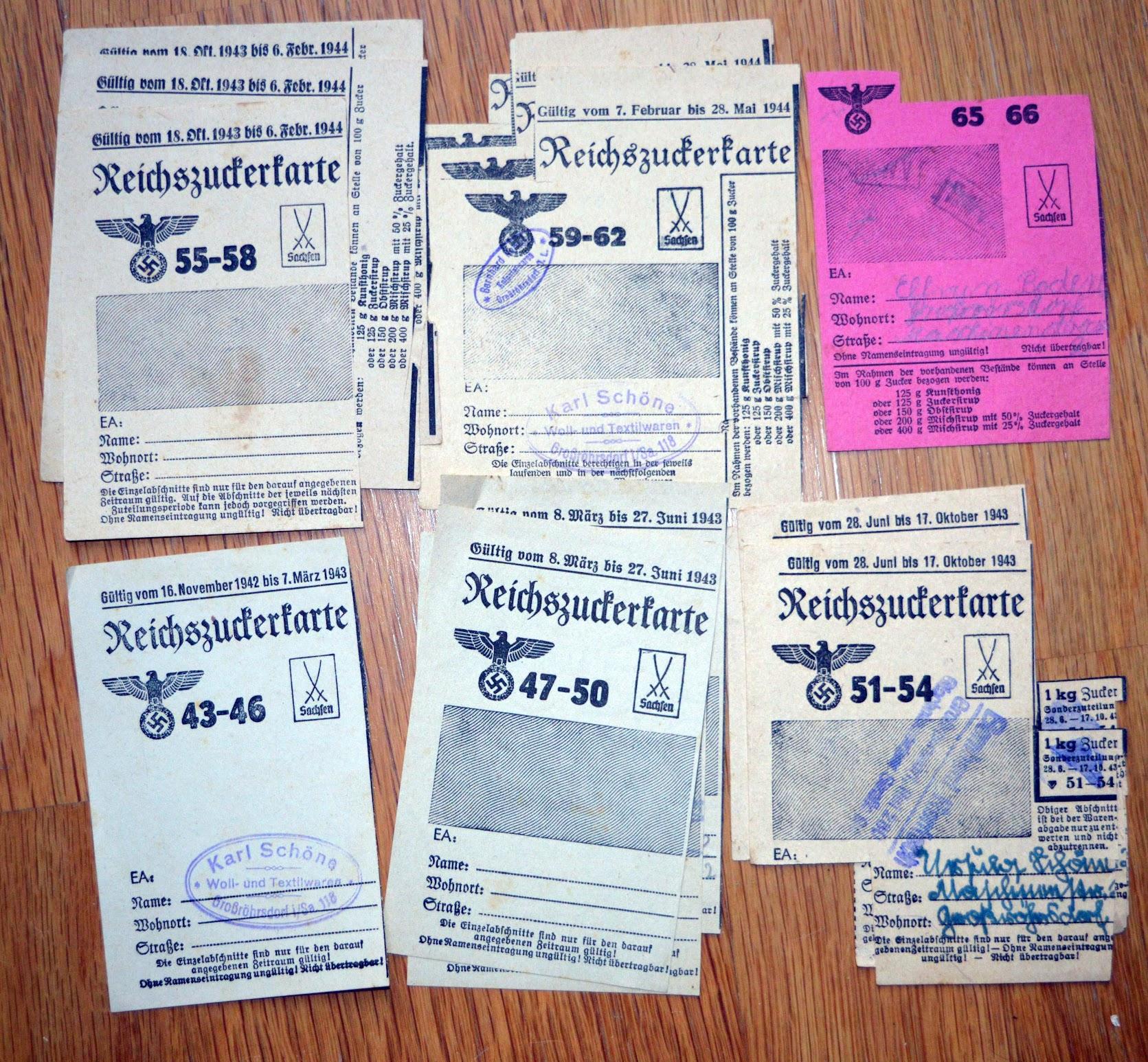 Lebensmittelkarte Reichszuckerkarte oder Sirup und Kunsthonig