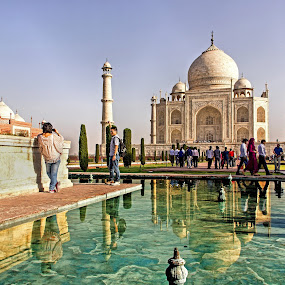 Taj with its Reflection by Amit Aggarwal - Buildings & Architecture Public & Historical ( reflection, marble, white, taj mahal, agra, india, minar, landscape, amit aggarwal,  )