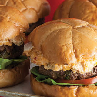 Pblano Pepper and Pimiento Cheeseburgers.