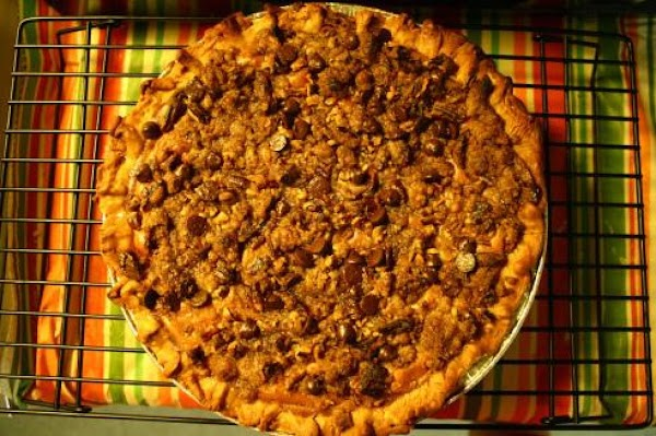 Pumpkin Cream Cheese Pie With Pecan Topping Recipe