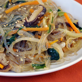 Vegetarian Chap Chae (Korean Noodles With Vegetables).