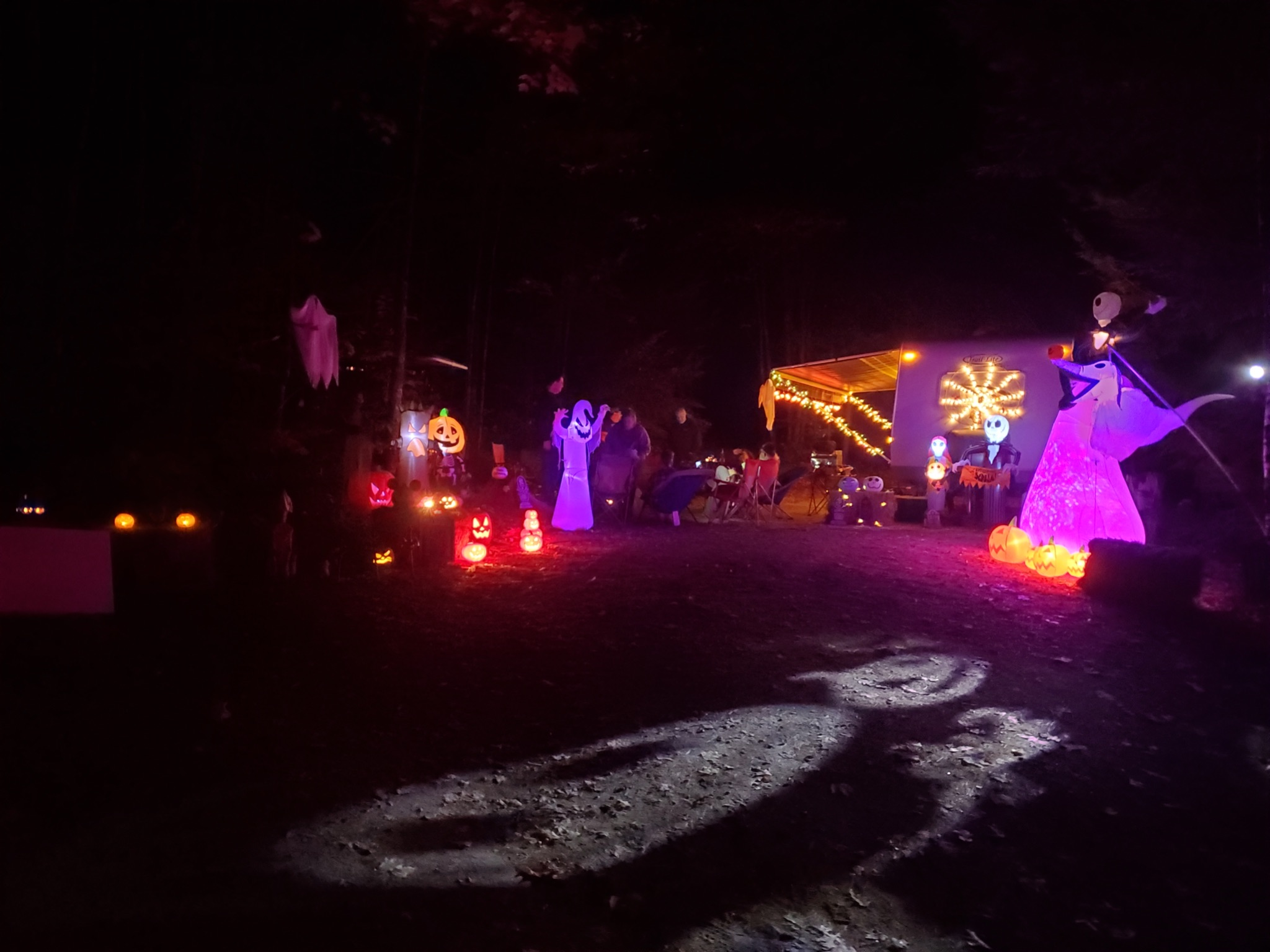 Campground decorated for halloween in Milton, NH