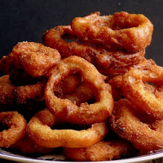 Buttermilk Pancake Batter Onion Rings with Wasabi-Garlic Mayo.