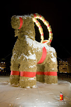 Photo: The Gävle goat - and a fire extinguisher. It had even guards later on to protect the goat from pyromans. As long as the goat has been built from 1966 it has been burnt down almost every year. 2010 goat survived =)
