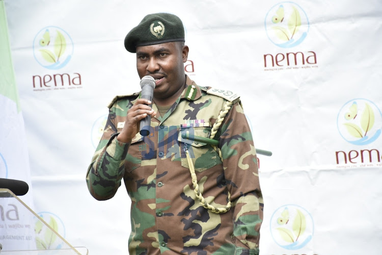CCF Julias Kamau gives a speech on the International Day to Combat Desertification and Drought at Nairobi City Park on June 17, 2020