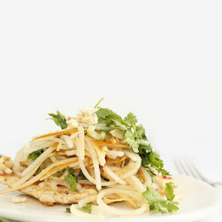 Chicken Paillard and Asian Pear and Cashew Salad