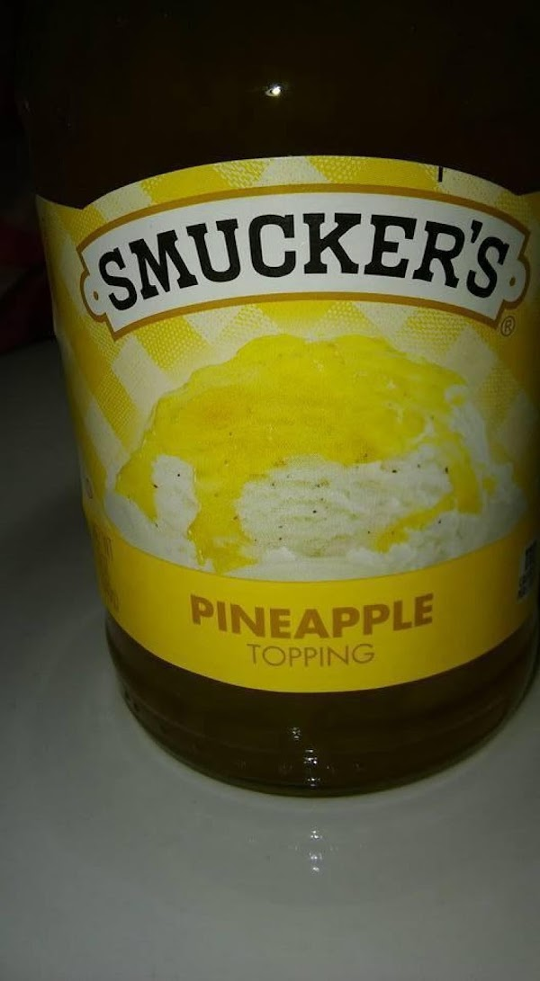 Pineapple topping, jelly or jam. (If it is chunky:  add 1 TBS. clear...