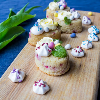 Rhubarb And Raspberry Friands With Lime Buttercream