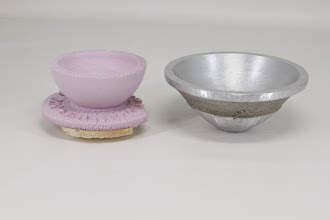 "Photo: Bob Anderson 2"" x 5"" bowl [aluminum] with example of a turned foam mold for another bowl (the form is destroyed in the casting process)"