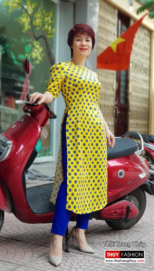Áo dài cách tân chấm bi màu vàng xanh V704 thời trang thủy sài gòn