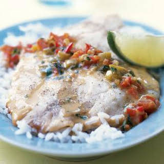 Broiled Tilapia with Thai Coconut-Curry Sauce.