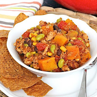 Turkey Quinoa Chili with Butternut Squash and Edamame