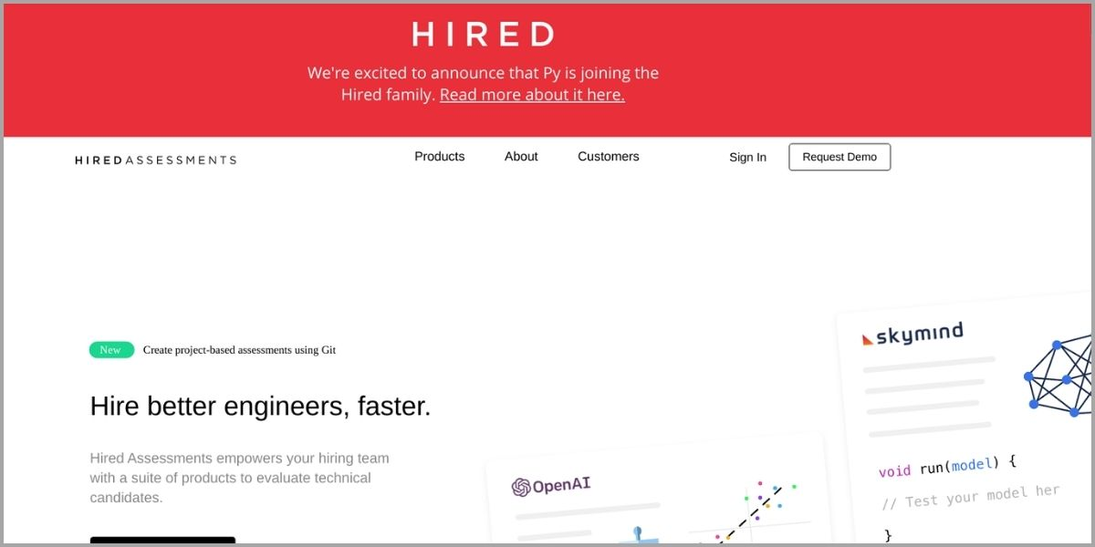 hired assessments homepage