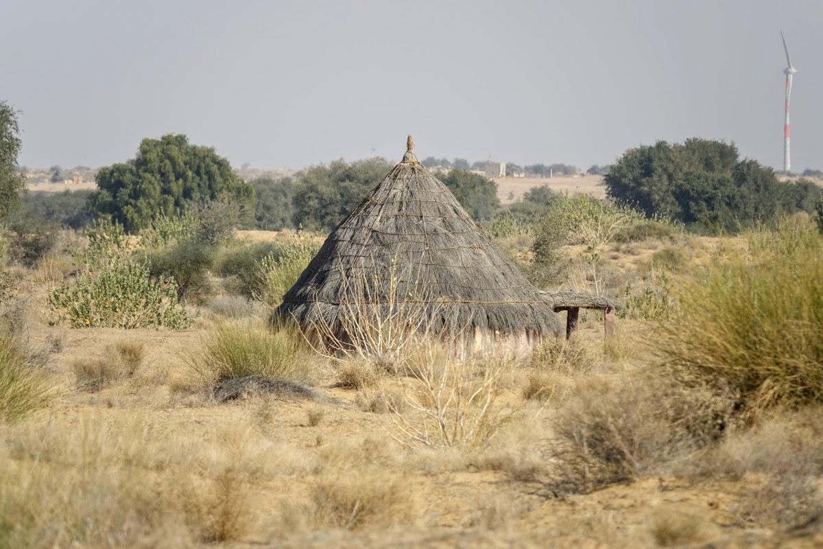 India. Rajasthan Thar Desert Camel Trek. Shepher's Hut